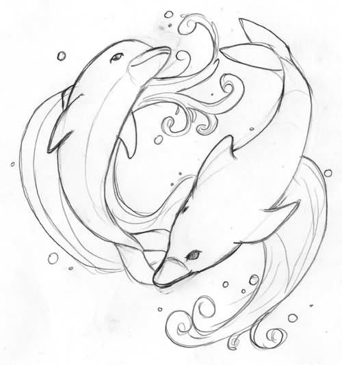 Dolphin outline tattoo - photo#10