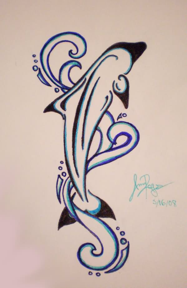 Dolphin outline tattoo - photo#52