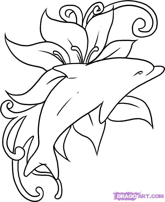 Dolphin outline tattoo - photo#34
