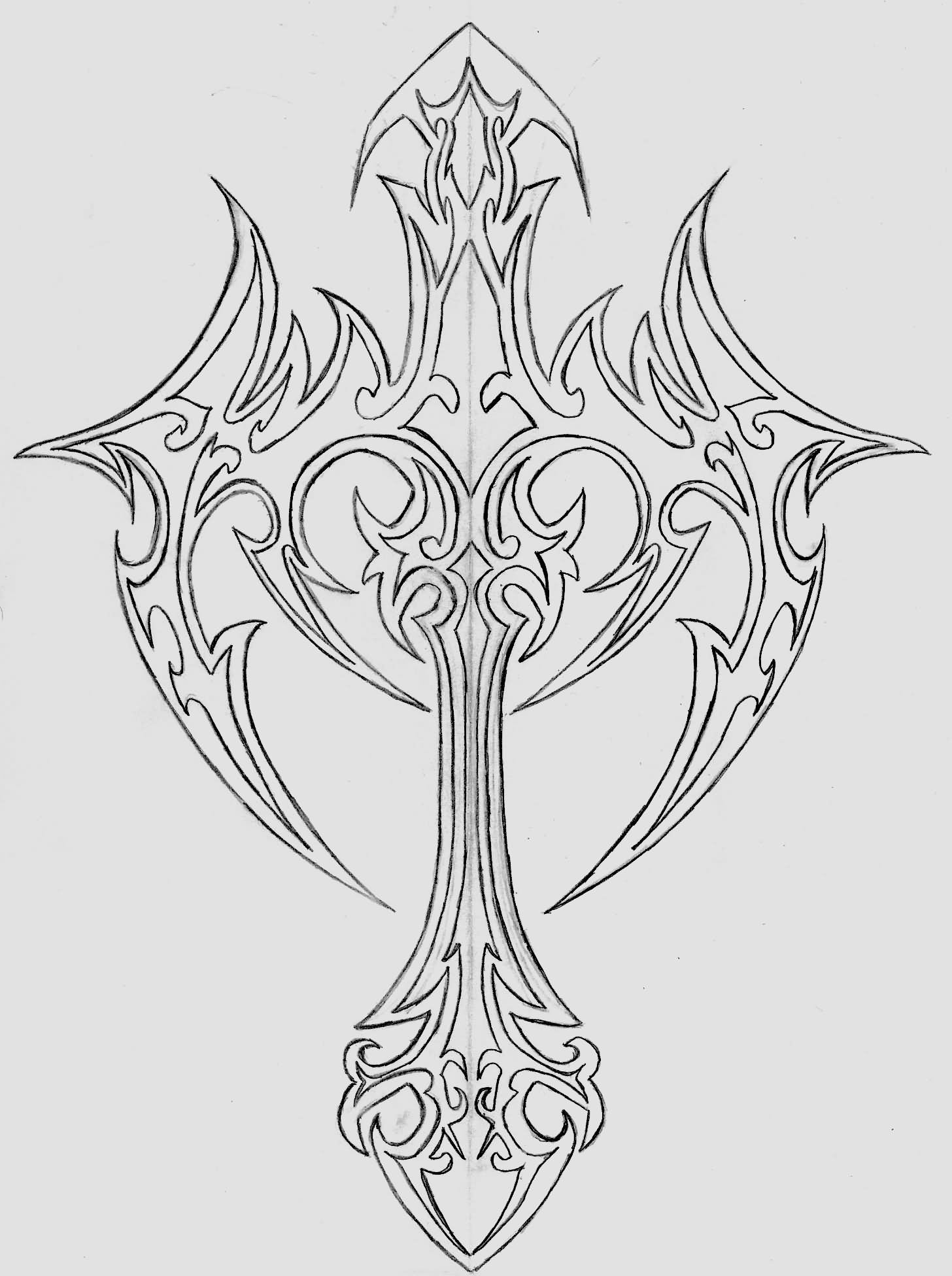 Outline Tribal Cross Tattoo Design