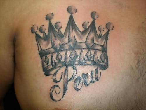Peru King Crown Tattoo On Chest For Men