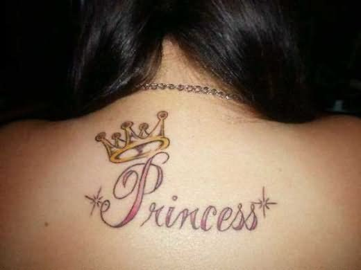 Princess Majestic Crown Tattoo On Upperback