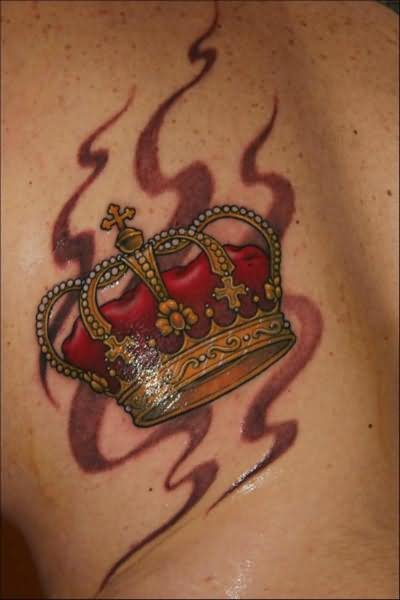 Red Flames And Crown Tattoo on Back