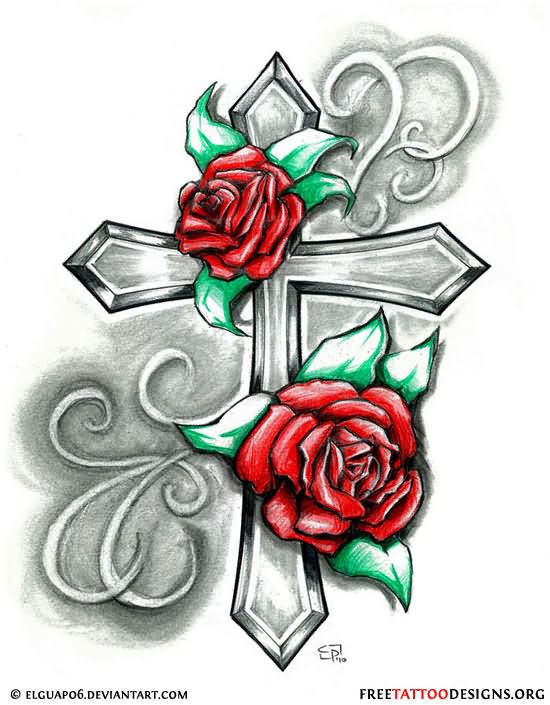 Red Roses And Cross Tattoo Design Idea
