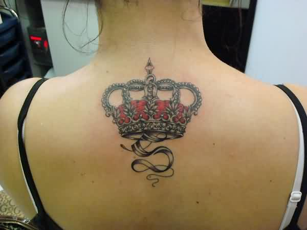 Royal crown tattoo on upper back for Crown royal tattoo