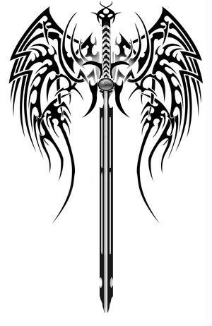 amazing black tribal sword tattoo design rh tattoostime com Sword and Shield Tattoo tribal dragon sword tattoo