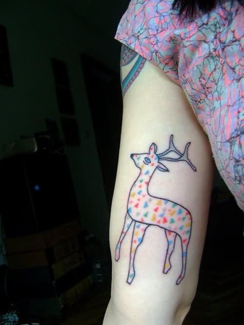 girl arm cute fawn tattoo. Black Bedroom Furniture Sets. Home Design Ideas