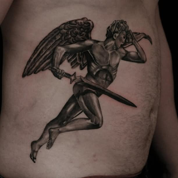 grey ink flying angel sword tattoo on side rib. Black Bedroom Furniture Sets. Home Design Ideas