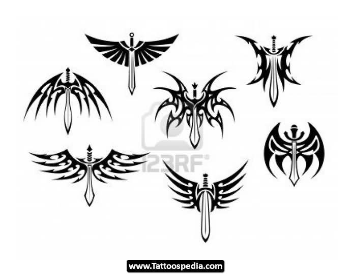 Tribal Sword Tattoos Design