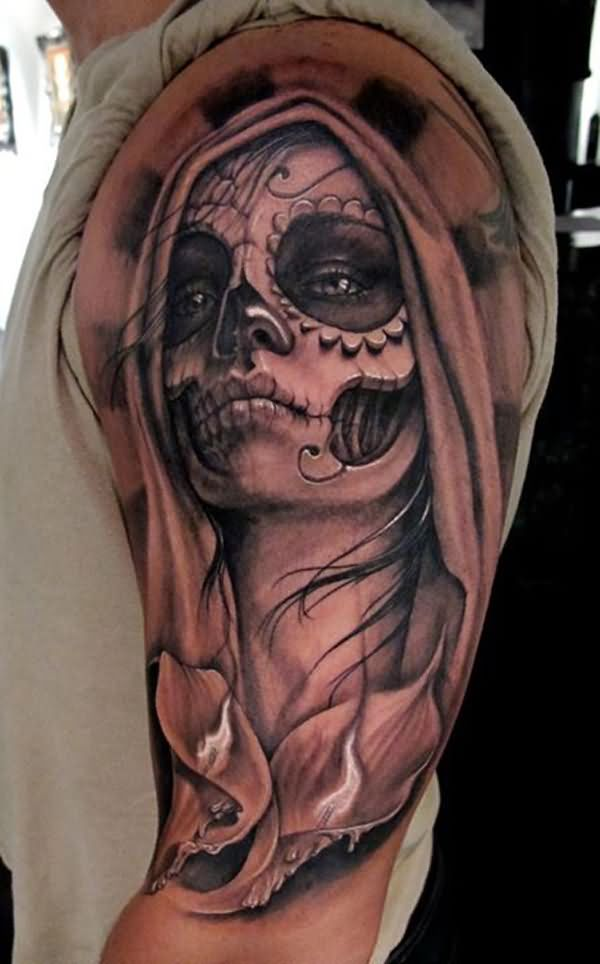 Zombie Girl Face Tattoo On Left Half Sleeve