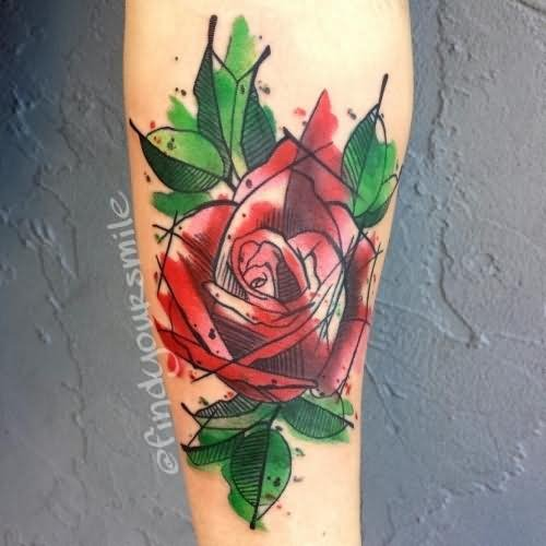 Abstract rose flower watercolor tattoo for Abstract rose tattoo