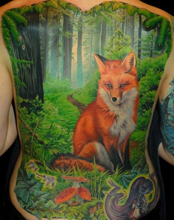 back body fox in forest watercolor tattoo tattoostime com