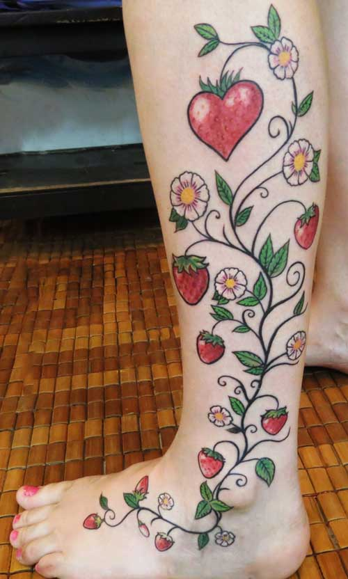 Strawberry Flower Tattoo Images &amp Designs