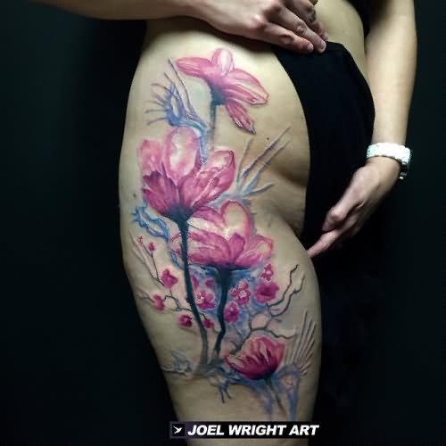 5f794b704 Left Shoulder Flowers Watercolor Tattoo