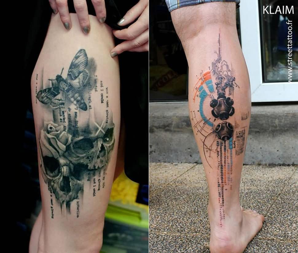 16203f6a96e15 Realistic Moth And Skulls Watercolor Tattoo On Back Leg