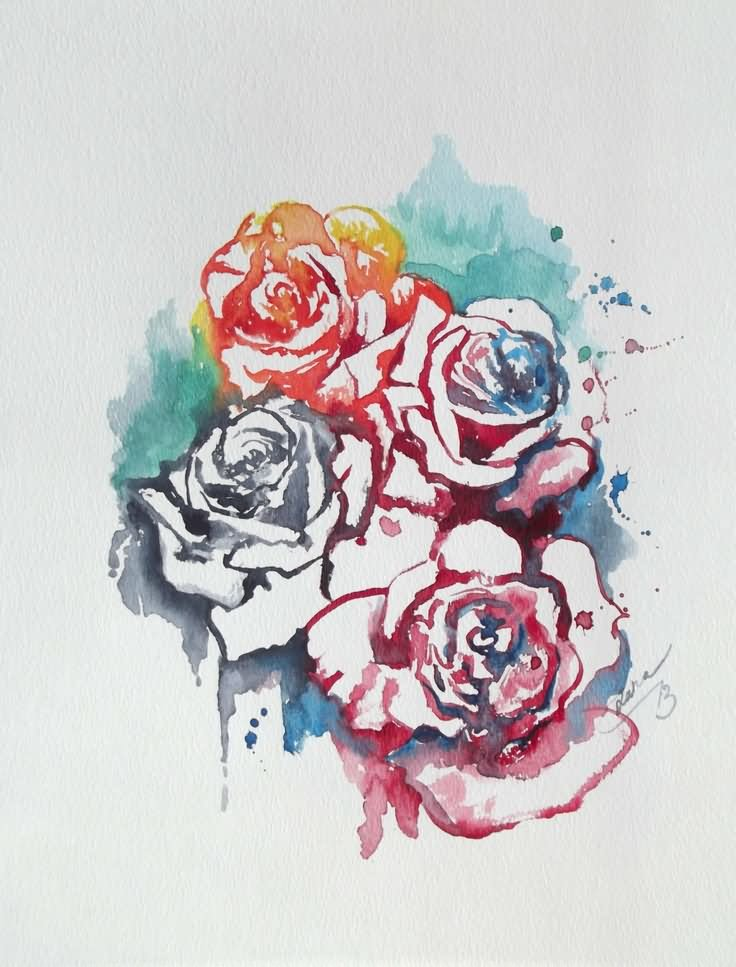 Rose Flowers Watercolor Tattoo Design