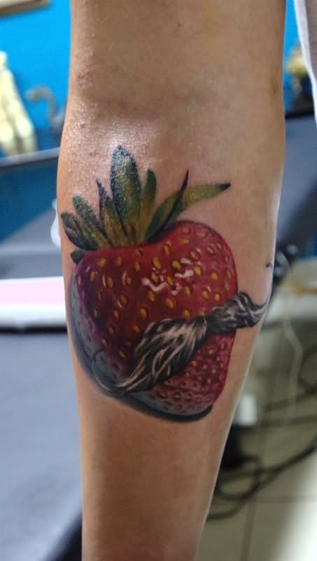 0013fa83a Strawberry With A Mustache Tattoo On Calf