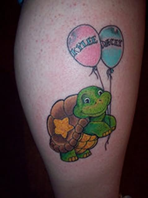 Turtle With Balloons Tattoo On Leg
