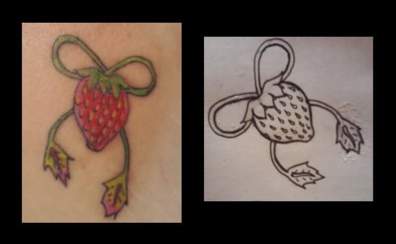 vine leaves strawberry tattoo design. Black Bedroom Furniture Sets. Home Design Ideas