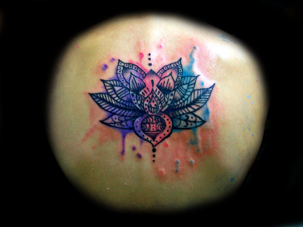 Lotus Flower Watercolor Tattoo Design Picture