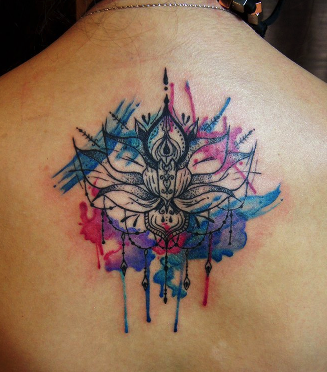 Watercolor Lotus Mandala Flower Tattoo