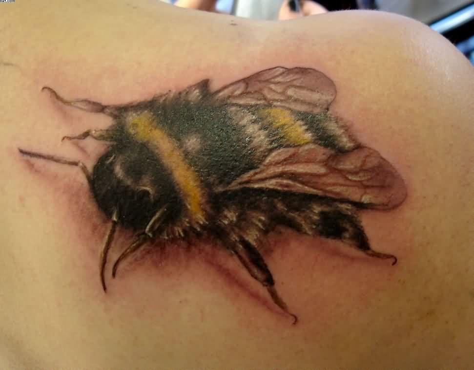 Amazing Bumblebee Tattoo On Shoulder Back