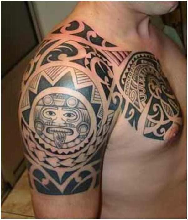 Amazing Tribal Aztec Sun Tattoo On Right Shoulder