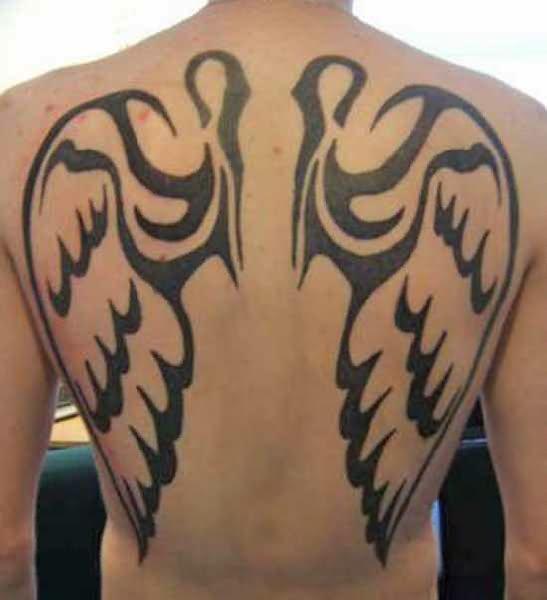 Angel Wings Tribal Tattoo On Back