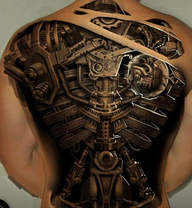 Awesome 3D biomechanical tattoo design for full back