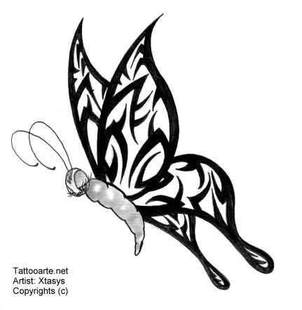 Awful Black Tribal Butterfly Tattoo Design