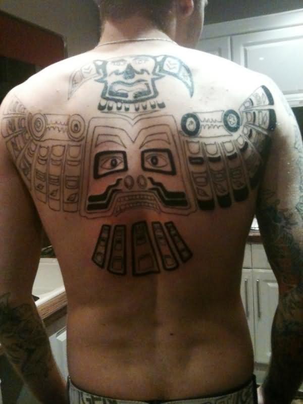 Aztec Tribal Tattoo On Man Back Body