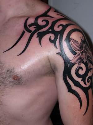 Best Black Tribal Tattoo On Left Shoulder