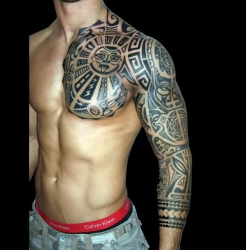 f109473f6 Classic Man Chest And Left Sleeve Tribal Tattoo