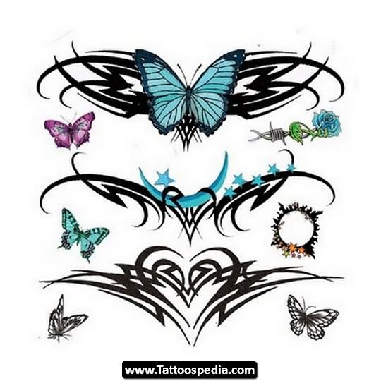 color butterflies and tribal tattoos designs for lower back. Black Bedroom Furniture Sets. Home Design Ideas