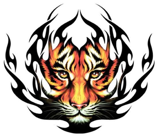 colored tattoos tribal Tribal Head Tattoo Tribal Colored Design Tiger