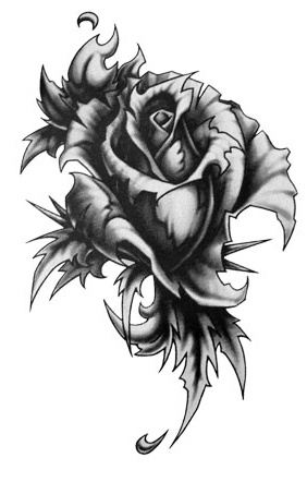 Excellent Gothic Rose Tattoo Design