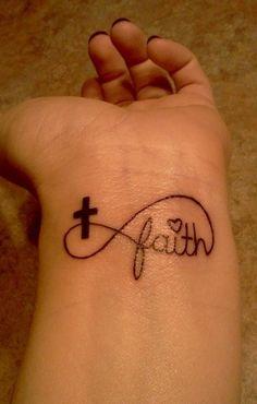 Faith in infinity symbol with cross tattoo on wrist