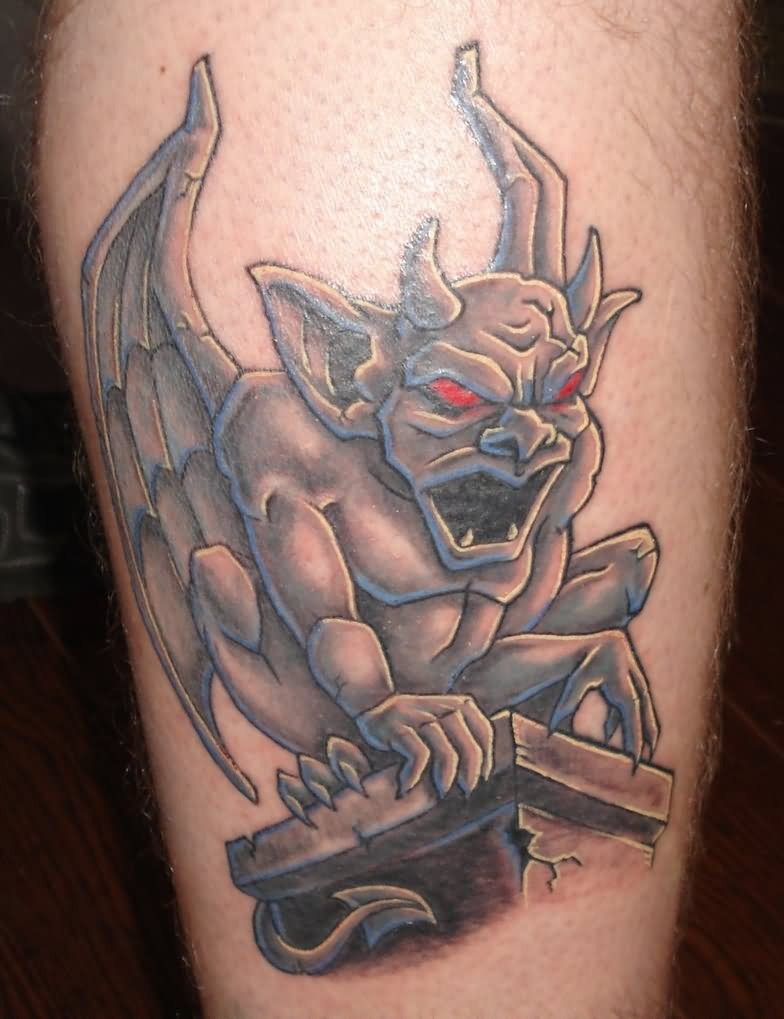 Grey ink - Angry gargoyle sitting on pillar tattoo