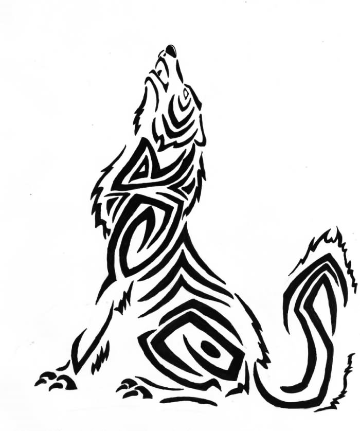 Howling Wolf Tribal Tattoo Design