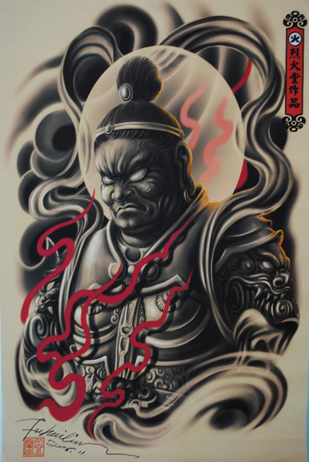 Japanese warrior tattoo design