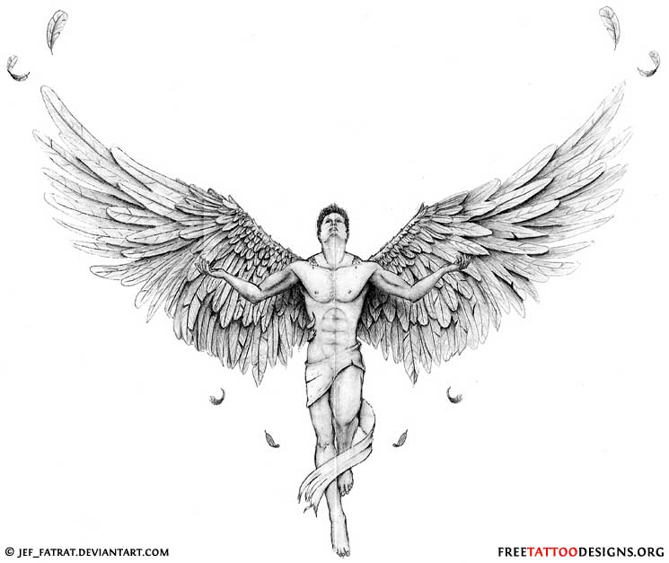 Male Angel with open wings tattoo design