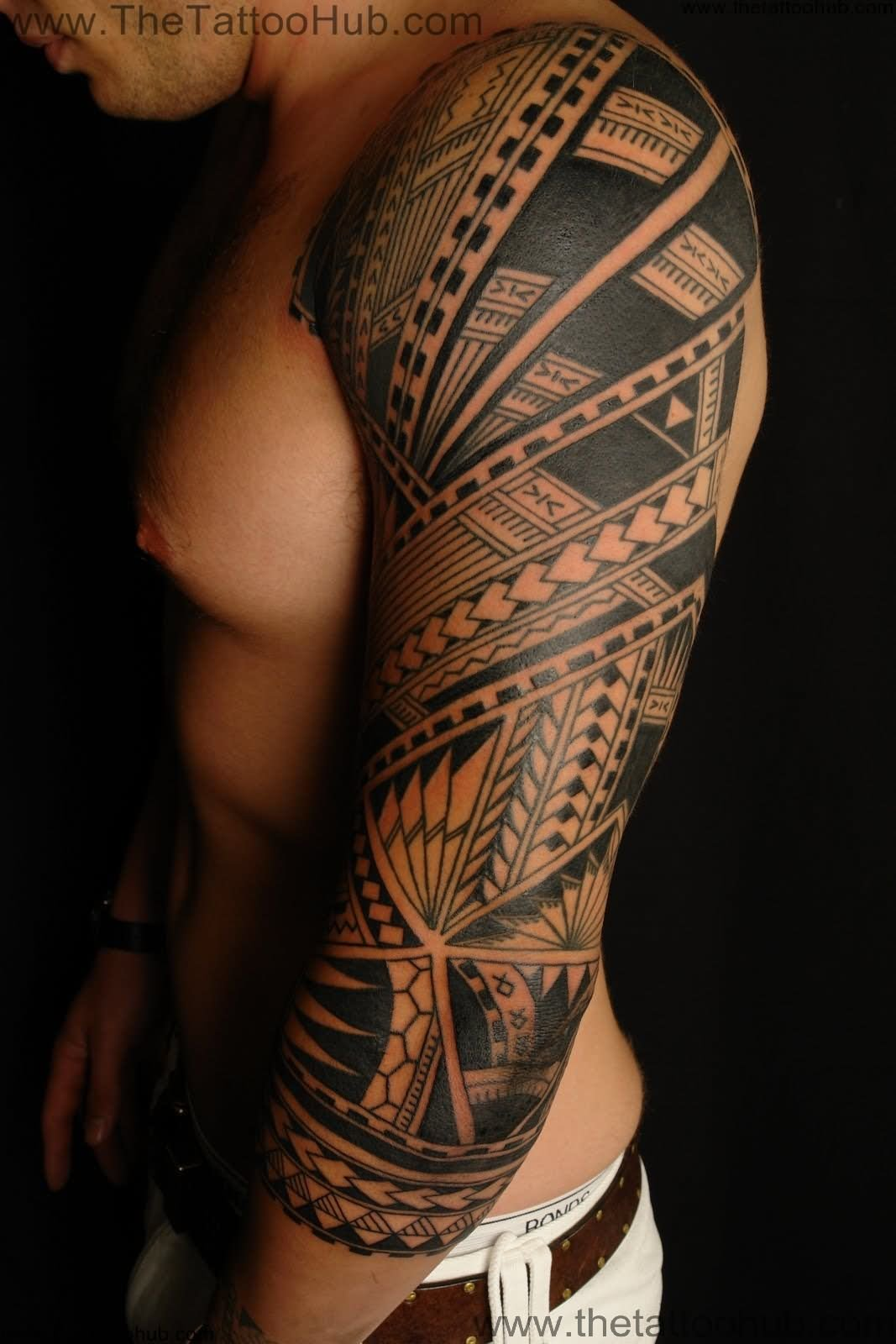 polynesian tribal tattoo on man left sleeve. Black Bedroom Furniture Sets. Home Design Ideas