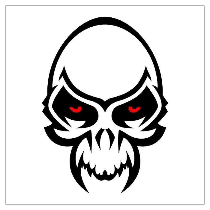 Red Eyes Tribal Skull Tattoo Design
