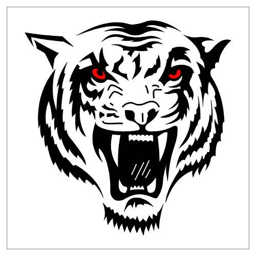 Red Eyes Tribal Tiger Head Tattoo Design