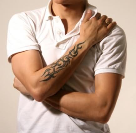 Right Arm Beautiful Tribal Tattoo