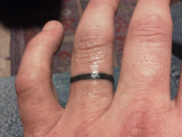 Simple Black Ink Band Ring Tattoo