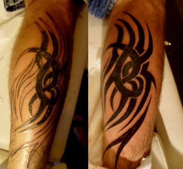 Tribal Cover Up Tattoo On Leg