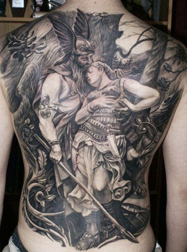 Warrior with lady tattoo on full back by Csaba Kolozsvar