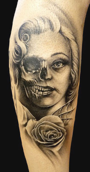 731ab42105a4c Black ink Lady Demon with rose tattoo by Demon Tattoo, Spain