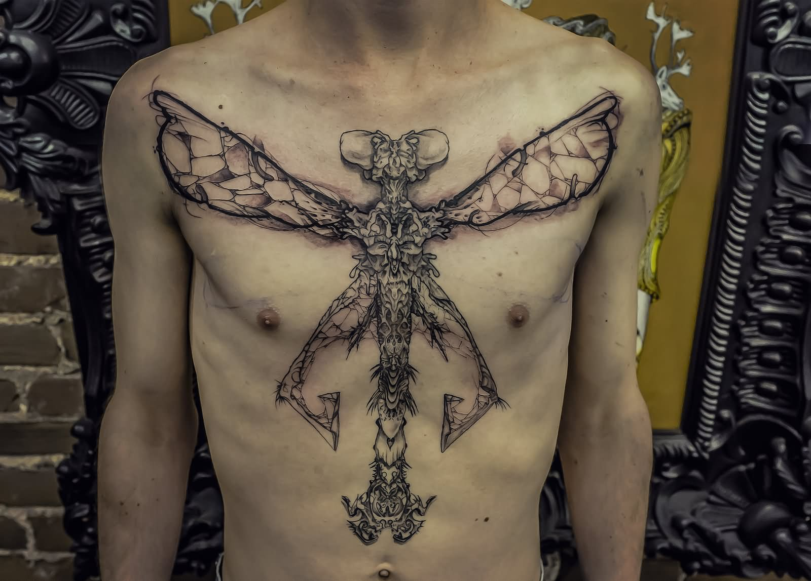 3dd20e3c7 Abstract Dragonfly Tattoo On Man Chest